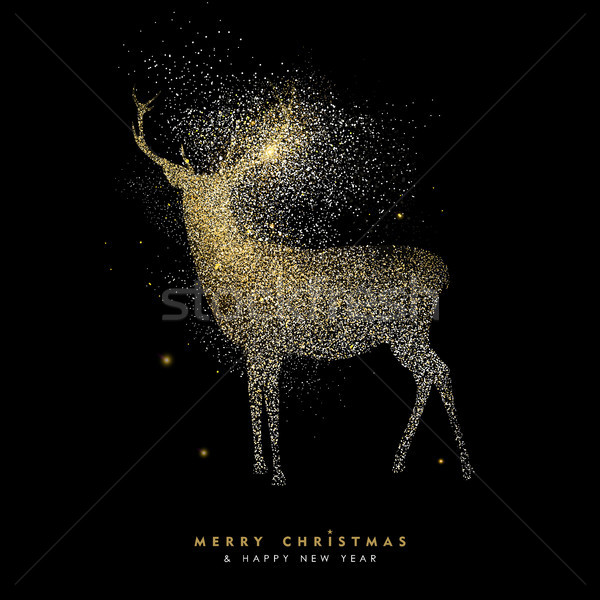 Christmas and new year holiday gold glitter deer Stock photo © cienpies