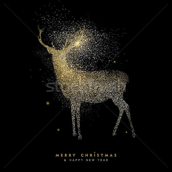 Karácsony új év ünnep arany csillámlás szarvas Stock fotó © cienpies