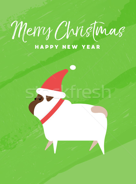 Foto stock: Natal · ano · novo · férias · cão · cartão · alegre