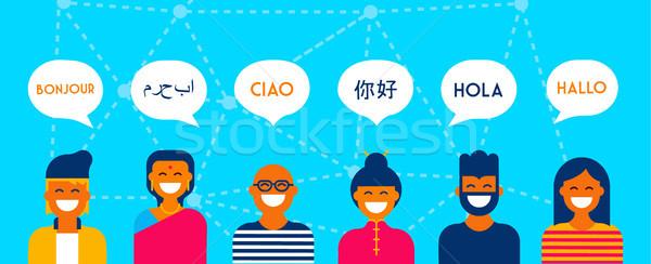 Dil konuşma afiş grup insanlar konuşma Stok fotoğraf © cienpies