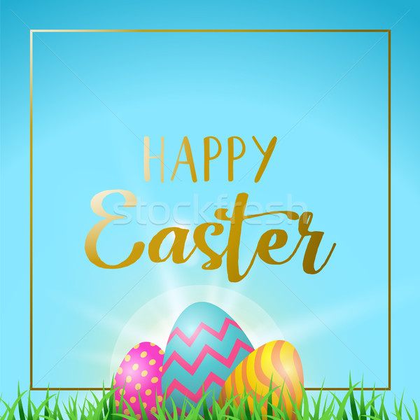 Easter eggs greeting card with happy gold text Stock photo © cienpies