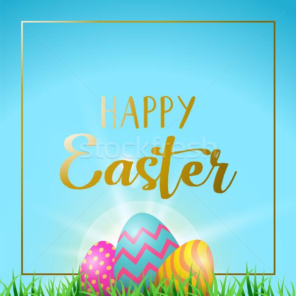 Stock fotó: Húsvéti · tojások · üdvözlőlap · boldog · arany · szöveg · húsvét