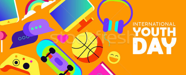 Youth Day banner of fun teen activity icons Stock photo © cienpies