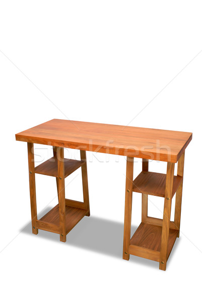 Computer desk isolated over white Stock photo © cienpies