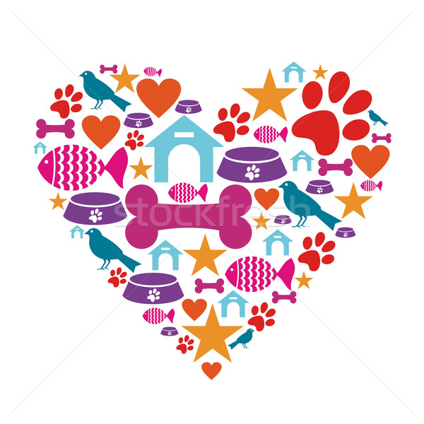 Love for pets icon collection Stock photo © cienpies