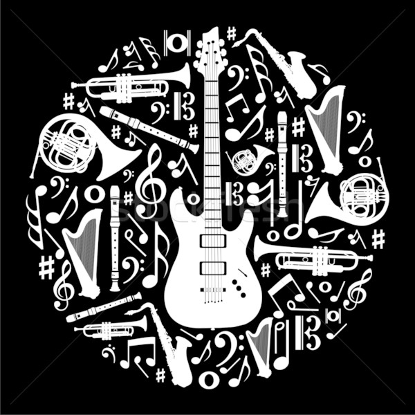 Black and white love for music concept illustration background Stock photo © cienpies
