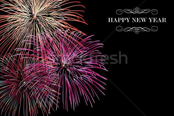 Buon anno fuochi d'artificio biglietto d'auguri eps10 vettore Foto d'archivio © cienpies