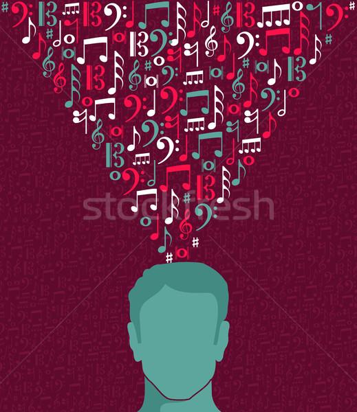 音符 人間 男 頭 実例 男性 ストックフォト © cienpies