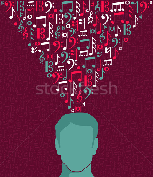 Music notes human man head illustration Stock photo © cienpies