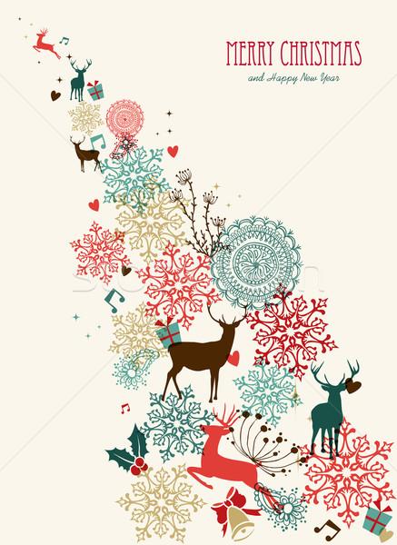 Wesoły christmas vintage pocztówkę przezroczystość retro Zdjęcia stock © cienpies