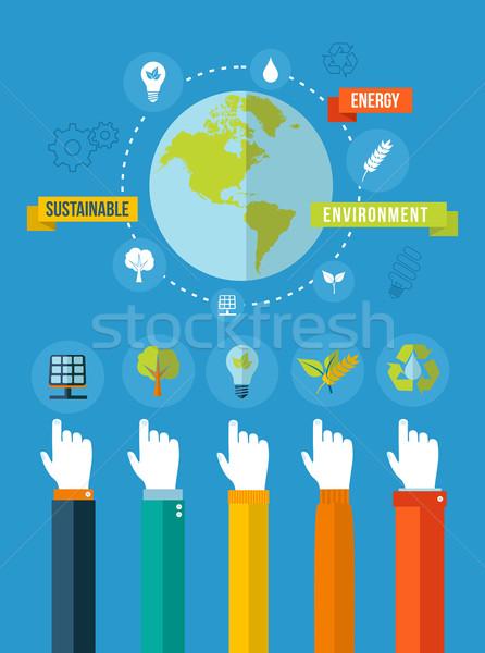 Foto stock: Verde · ecología · ilustración · medio · ambiente · pensar · eps10