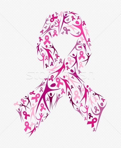 Breast cancer awareness pink ribbon shape social Stock photo © cienpies