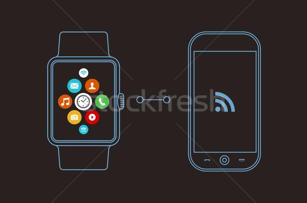 Smart Смотреть телефон дизайна приложение икона Сток-фото © cienpies