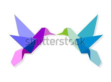 цветами оригами hummingbird один вектора Сток-фото © cienpies