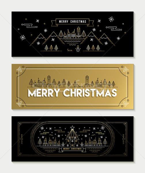 Gold line art Christmas banner template set Stock photo © cienpies