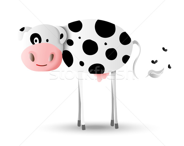 Cartoon illustration design of happy farm cow Stock photo © cienpies