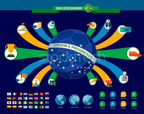 Brasil fútbol juego infografía plantilla partido de fútbol Foto stock © cienpies
