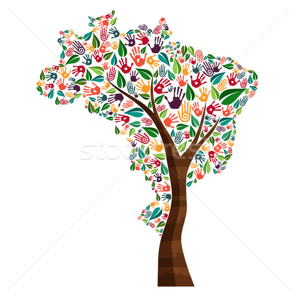 El baskı ağaç simge dünya yardım Stok fotoğraf © cienpies
