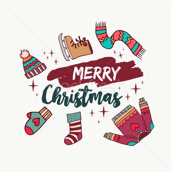 Natal férias inverno roupa desenho animado cartão Foto stock © cienpies