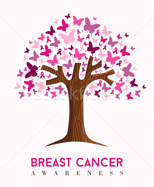 Breast cancer awareness pink butterfly tree art Stock photo © cienpies