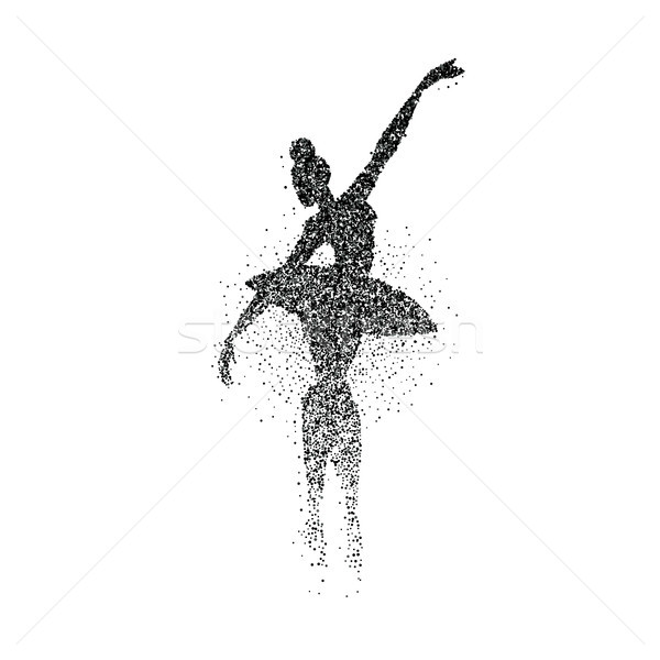 Danseur de ballet fille particules Splash silhouette danse Photo stock © cienpies
