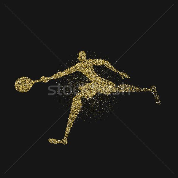 Arany csillámlás teniszező sziluett ütő csobbanás Stock fotó © cienpies