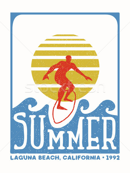 Surfer man vintage stamp from california beach Stock photo © cienpies