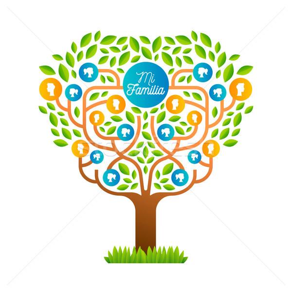 Groot familie boom sjabloon spaans taal Stockfoto © cienpies