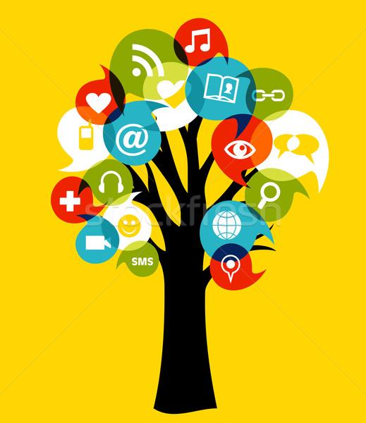 Stock fotó: Közösségi · média · hálózatok · fa · közösségi · háló · média · ikonok