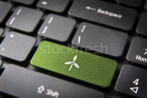 Go green wind energy keyboard key, environment background Stock photo © cienpies