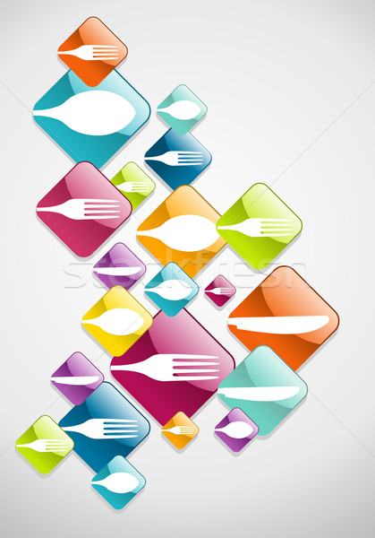 Arrow shaped food glossy icons background Stock photo © cienpies