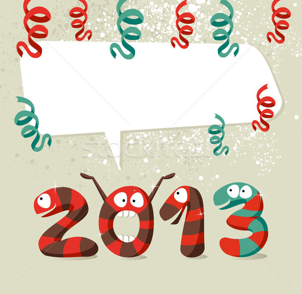 Cartoon creatures Happy New Year 2013 Stock photo © cienpies