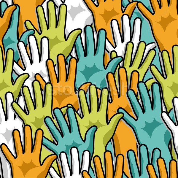 Democracy hands up pattern  Stock photo © cienpies