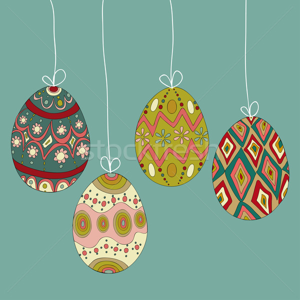 Hanging easter eggs Stock photo © cienpies