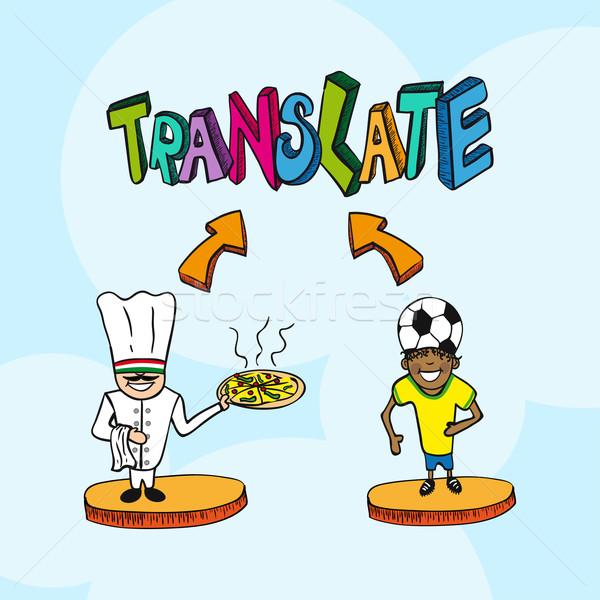 翻訳 イタリア語 人 漫画 男 実例 ストックフォト © cienpies