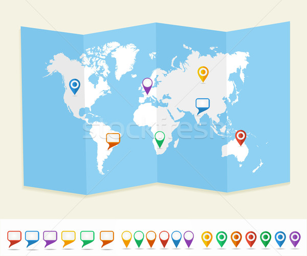 Stock photo: World map GPS location pins travel concept EPS10 vector file.
