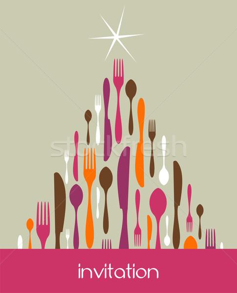 Christmas Tree Cutlery Made Stock photo © cienpies