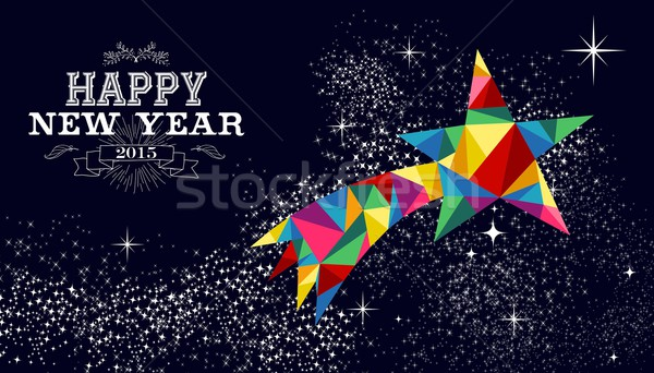 Nouvelle année 2015 étoile filante carte happy new year carte de vœux Photo stock © cienpies