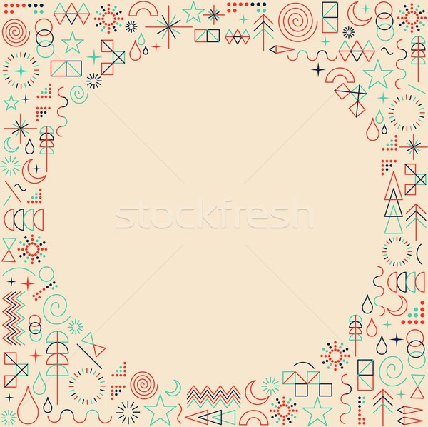 Mono line frame hipster background Stock photo © cienpies
