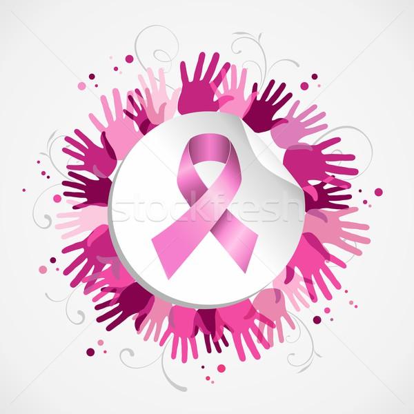 Breast cancer awareness ribbon hand social badge Stock photo © cienpies