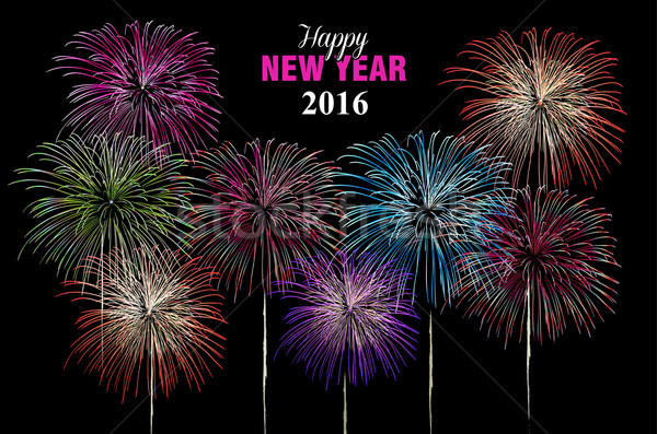 Happy new year 2016 fireworks night poster Stock photo © cienpies