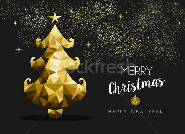 Heiter Weihnachten glückliches neues Jahr golden Kiefer niedrig Stock foto © cienpies