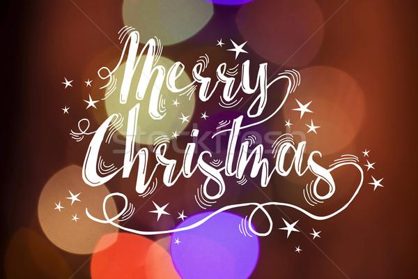 Neşeli Noel kaligrafi bokeh kart Yıldız Stok fotoğraf © cienpies