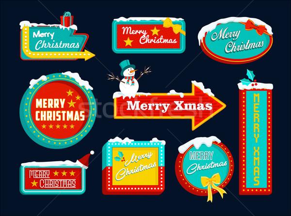 Merry christmas retro set sign snow snowman xmas Stock photo © cienpies