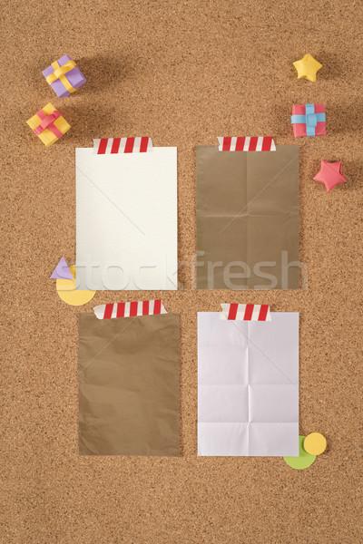 Papír textúra sablon dugó hirdetőtábla jegyzetek színes Stock fotó © cienpies