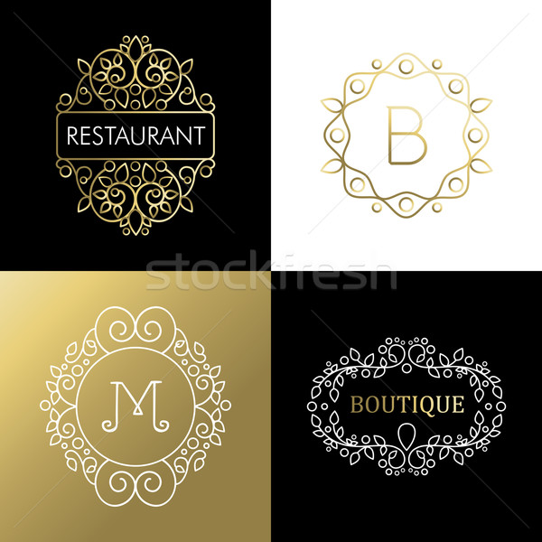 Ornament frame set mono line art outline sign gold Stock photo © cienpies