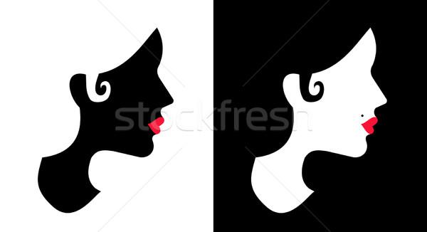 Mulheres dia preto e branco projeto menina cara Foto stock © cienpies