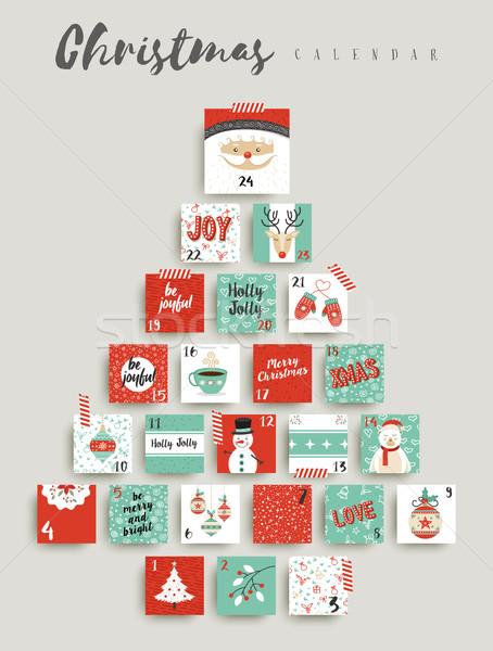 Natal advento calendário bonitinho ornamento decoração Foto stock © cienpies
