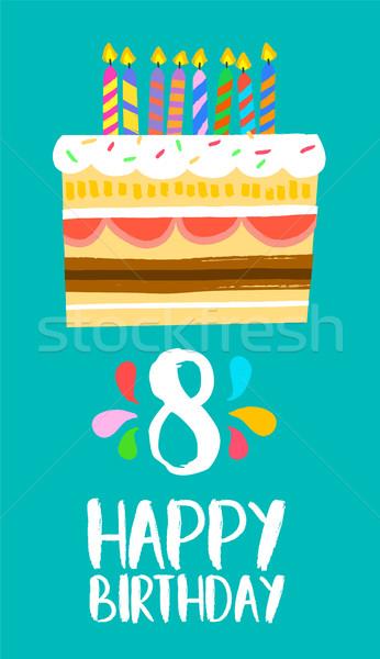 Stok fotoğraf: Mutlu · yıllar · kek · kart · sekiz · yıl · parti