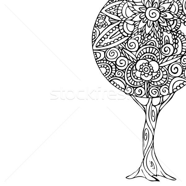 Ağaç Mandala Sanat örnek Boyama Kitabı Siyah Beyaz
